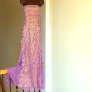CACHE sz S lilac beaded prom cruise pageant dress